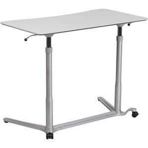 Sit-Down Stand-Up Light Gray Computer Desk with 37.375 In. W Top (Adjustable Range 29 In. - 40.75 In. )