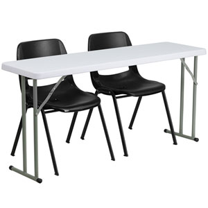 18 In. x 60 In. Plastic Folding Training Table with 2 Black Plastic Stack Chairs