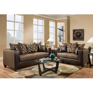 Kelly Espresso Chenille Living Room Set