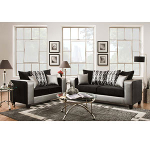 Lauren Series Black Velvet Living Room Set