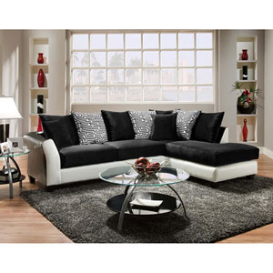 Lauren Series Black Velvet Sectional