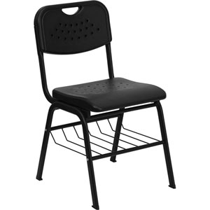 Series 880 lb. Capacity Black Plastic Chair with Black Frame and Book Basket