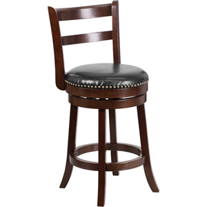 26 In. High Cappuccino Wood Counter Height Stool with Black Leather Swivel Seat