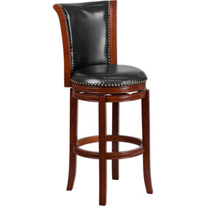 30 In. High Dark Chestnut Wood Barstool with Black Leather Swivel Seat