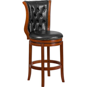 30 In. High Brandy Wood Barstool with Black Leather Swivel Seat