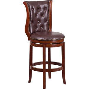30 In. High Dark Chestnut Wood Barstool with Hepatic Leather Swivel Seat