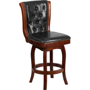 26 In. High Cherry Wood Counter Height Stool with Black Leather Swivel Seat
