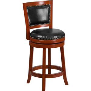 26 In. High Light Cherry Wood Counter Height Stool with Black Leather Swivel Seat