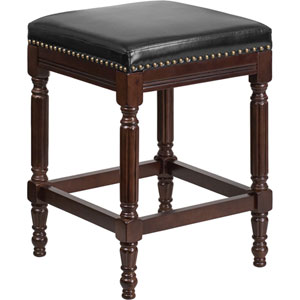 26 In. High Backless Cappuccino Wood Counter Height Stool with Black Leather Seat