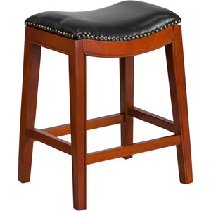26 In. High Backless Light Cherry Wood Counter Height Stool with Black Leather Seat