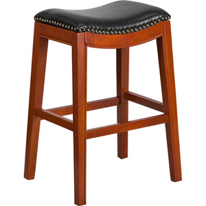 30 In. High Backless Light Cherry Wood Barstool with Black Leather Seat