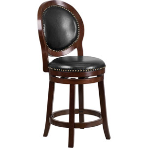 26 In. High Cappuccino Counter Height Wood Barstool with Black Leather Swivel Seat