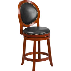 26 In. High Light Cherry Counter Height Wood Barstool with Walnut Leather Swivel Seat