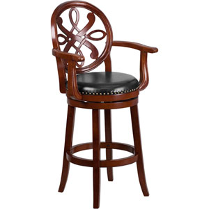30 In. High Cherry Wood Barstool with Arms and Black Leather Swivel Seat