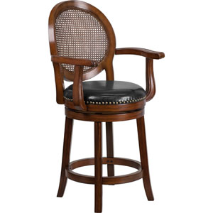 26 In. High Expresso Wood Counter Height Stool with Arms and Black Leather Swivel Seat