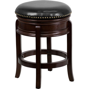 24 In. High Backless Cappuccino Wood Counter Height Stool with Black Leather Swivel Seat