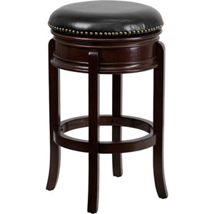 29 In. High Backless Cappuccino Wood Barstool with Black Leather Swivel Seat