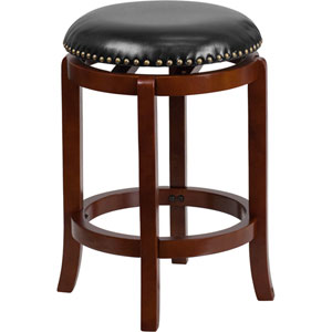 24 In High Backless Light Cherry Wood Counter Height Stool With Black Leather Swivel Seat