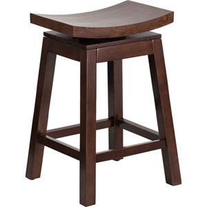 26 In. High Saddle Seat Cappuccino Wood Counter Height Stool with Auto Swivel Seat Return