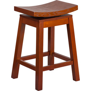 26 In. High Saddle Seat Light Cherry Wood Counter Height Stool with Auto Swivel Seat Return