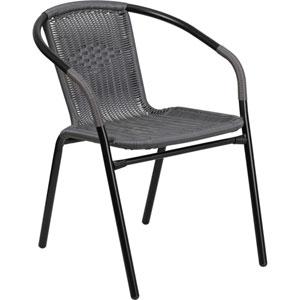 Gray Rattan Indoor-Outdoor Restaurant Stack Chair