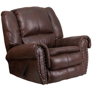 Contemporary, Breathable Comfort Padre Espresso Fabric Rocker Recliner with Brass Accent Nails