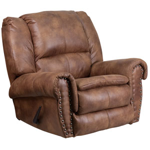 Contemporary, Breathable Comfort Padre Almond Fabric Rocker Recliner with Brass Accent Nails