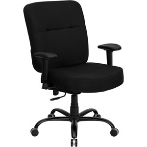 Series 400 lb. Capacity Big and Tall Black Fabric Executive Swivel Office Chair with Extra WIDE Seat and Height Adjustable Arms
