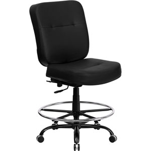 Series 400 lb. Capacity Big and Tall Black Leather Drafting Chair with Extra WIDE Seat
