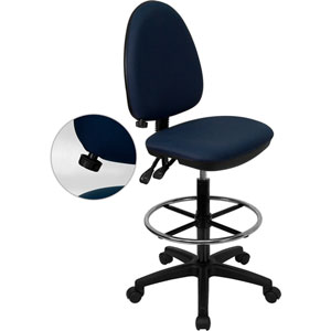 Mid-Back Navy Blue Fabric Multi-Functional Drafting Chair with Adjustable Lumbar Support