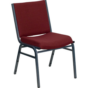 Series Heavy Duty 3-inch Thickly Padded Burgundy Patterned Upholstered Stack Chair with Ganging Bracket
