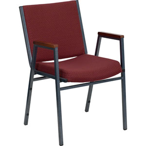 Series Heavy Duty 3-inch Thickly Padded Burgundy Patterned Upholstered Stack Chair with Arms and Ganging Bracket