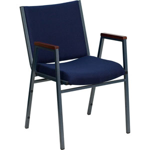 Series Heavy Duty 3-inch Thickly Padded Navy Patterned Upholstered Stack Chair with Arms and Ganging Bracket