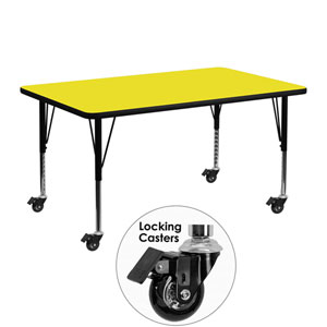 Mobile 24 In. W x 48 In. L Rectangular Activity Table with 1.25 In. Thick High Pressure Yellow Laminate Top and Height