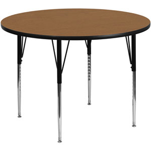 42 In. Round Activity Table with Oak Thermal Fused Laminate Top and Standard Height Adjustable Legs