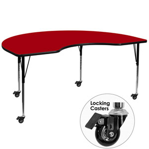 Mobile 48 In. W x 72 In. L Kidney Shaped Activity Table with Red Thermal Fused Laminate Top and Standard Height Adjustable