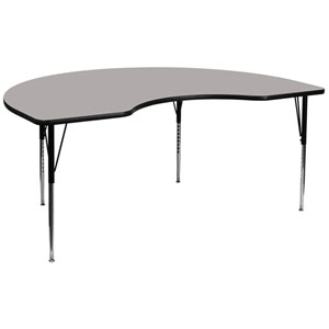 48 In. W x 96 In. L Kidney Shaped Activity Table with 1.25 In. Thick High Pressure Grey Laminate Top and Standard Height