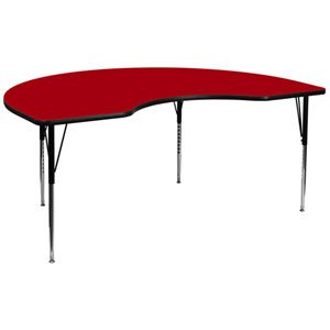 48 In. W x 96 In. L Kidney Shaped Activity Table with Red Thermal Fused Laminate Top and Standard Height Adjustable Legs