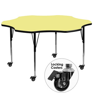 Mobile 60 In. Flower Shaped Activity Table with Yellow Thermal Fused Laminate Top and Standard Height Adjustable Legs