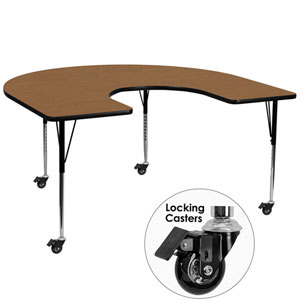 Mobile 60 In. W x 66 In. L Horseshoe Shaped Activity Table with Oak Thermal Fused Laminate Top and Standard Height Adjustable