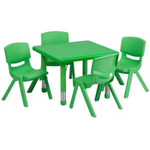 24 In. Square Adjustable Green Plastic Activity Table Set with 4 School Stack Chairs