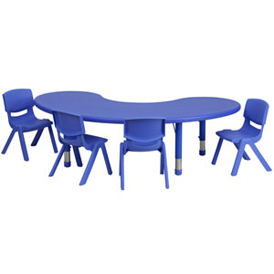 35 In. W x 65 In. L Adjustable Half-Moon Blue Plastic Activity Table Set with 4 School Stack Chairs