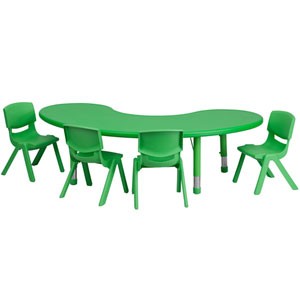 35 In. W x 65 In. L Adjustable Half-Moon Green Plastic Activity Table Set with 4 School Stack Chairs
