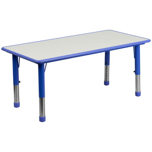 23.63 In. W x 47.25 In. L Height Adjustable Rectangular Blue Plastic Activity Table with Grey Top