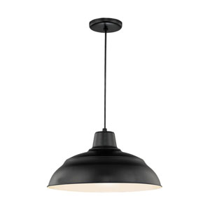 Knox Satin Black 17-Inch Warehouse Cord Hung Pendant