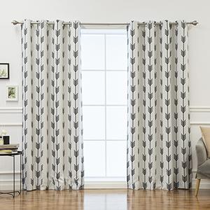 White Arrow Print 52 x 84 In. Room Darkening Curtain Panel