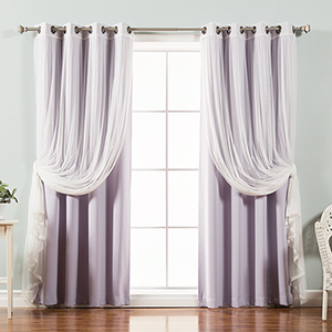 Lilac 96 x 52 In. Sheer Lace and Blackout Window Treatments, Set of Four