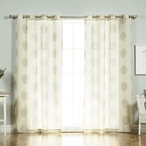 Grey Medallion 96 x 52 In. Curtain Panel
