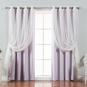 Lilac Lace and Solid 96 x 52 In. Blackout Window Treatments, Set of Four