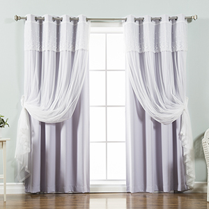 Lilac 96 x 52 In. Sheer and Solid Blackout Window Treatments, Set of Four